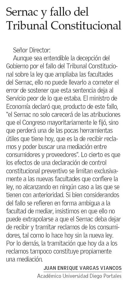 2101 - El Mercurio - Sernac - Juan Enrique Vargas