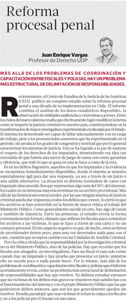 2301 - La Tercera - Reforma Procesal Penal - Juan Enrique Vargas