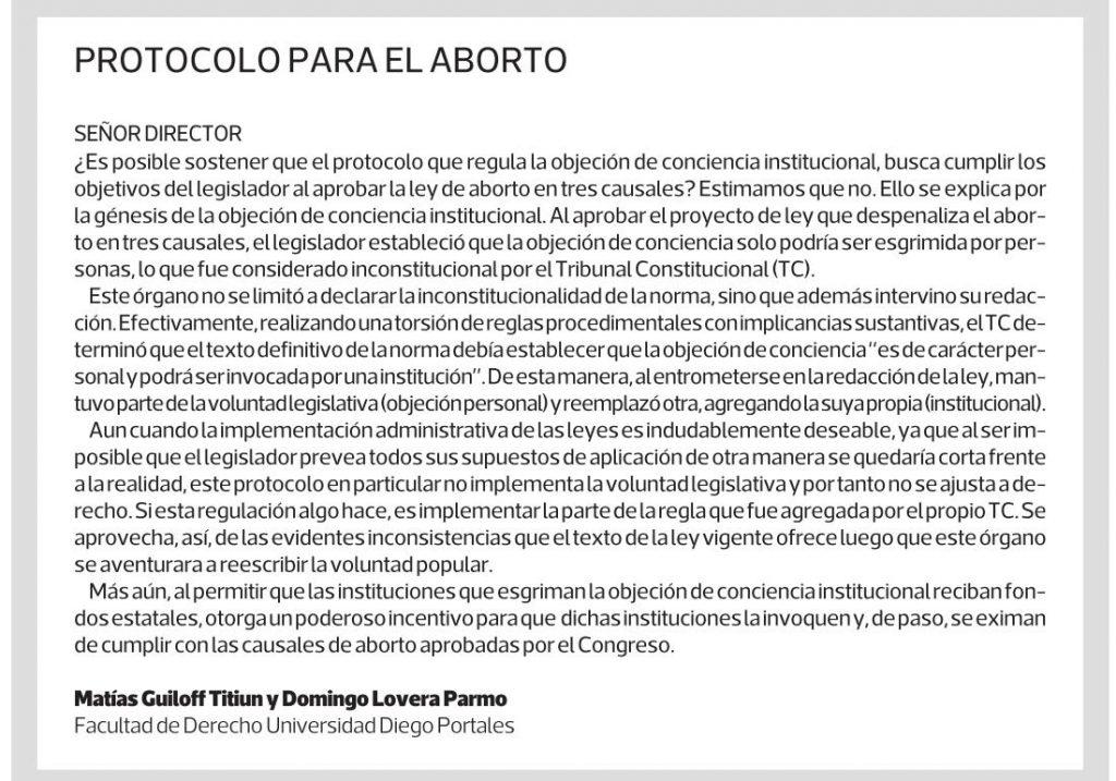 0504 - La Tercera - Protocolo para el aborto - Matias Guiloff y Domingo Lovera