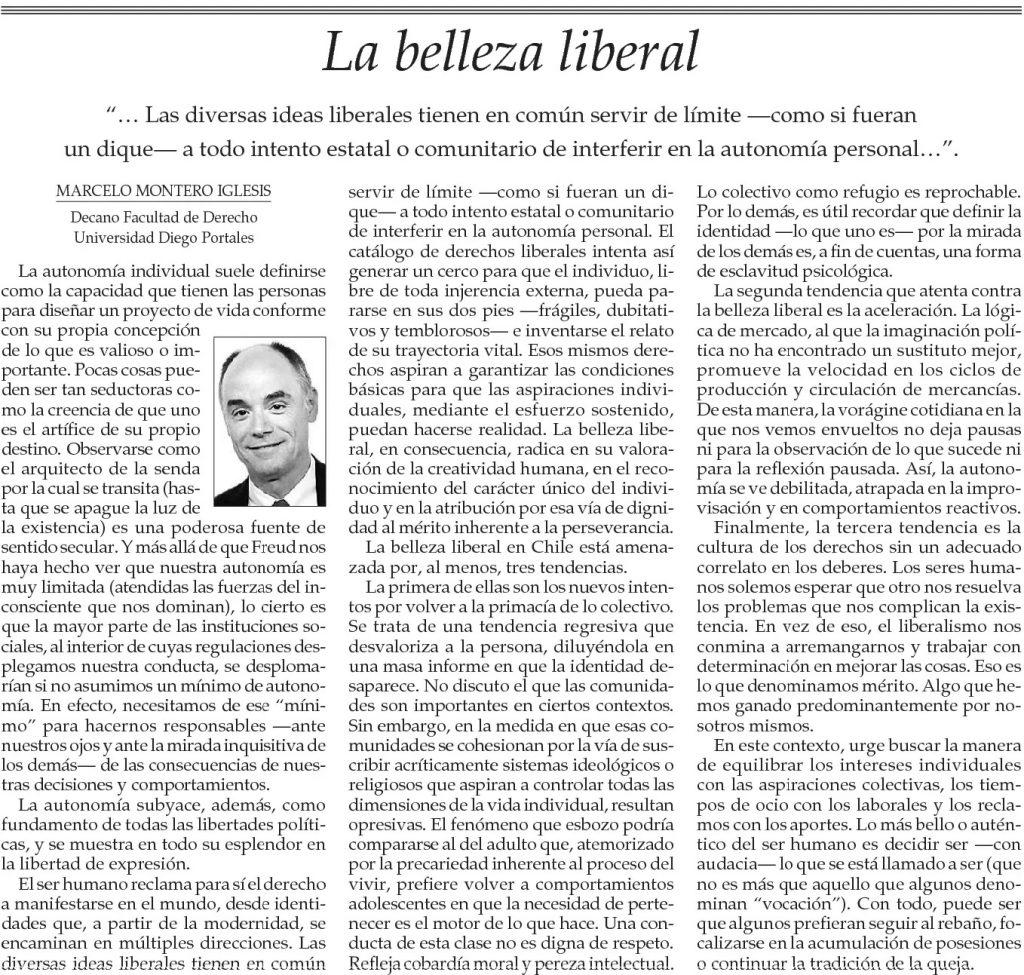 0604 - El Mercurio - La belleza liberal - Marcelo Montero