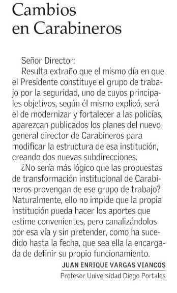 0704 - El Mercurio - Cambios en Carabineros - Juan Enrique Vargas