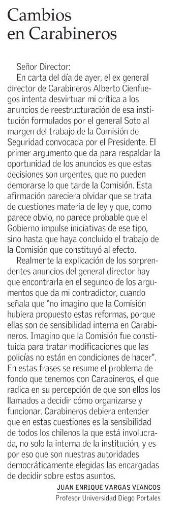 0804 - El Mercurio - Cambios en Carabineros - Juan Enrique Vargas
