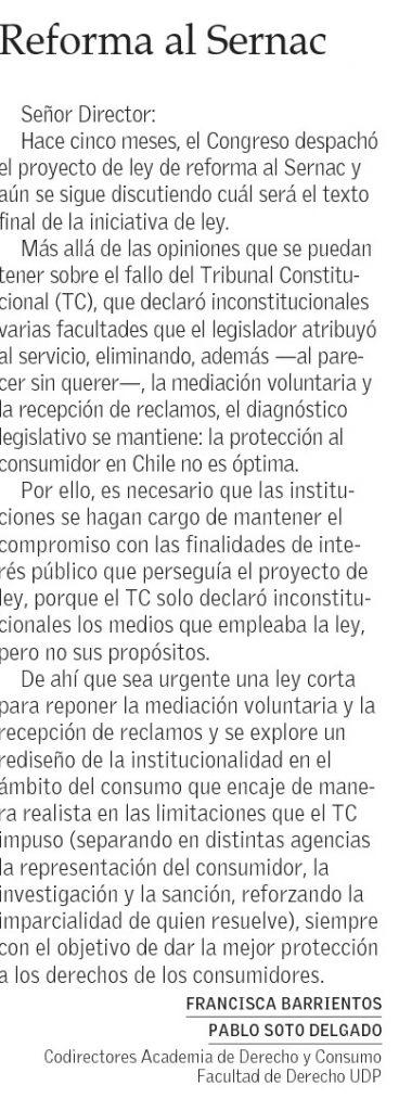 3103 - El Mercurio - Reforma Al Sernac - Francisca Barrientos y Pablo Soto